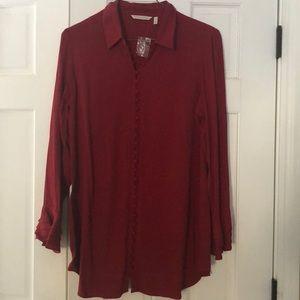 Soft Surroundings, long burgundy blouse